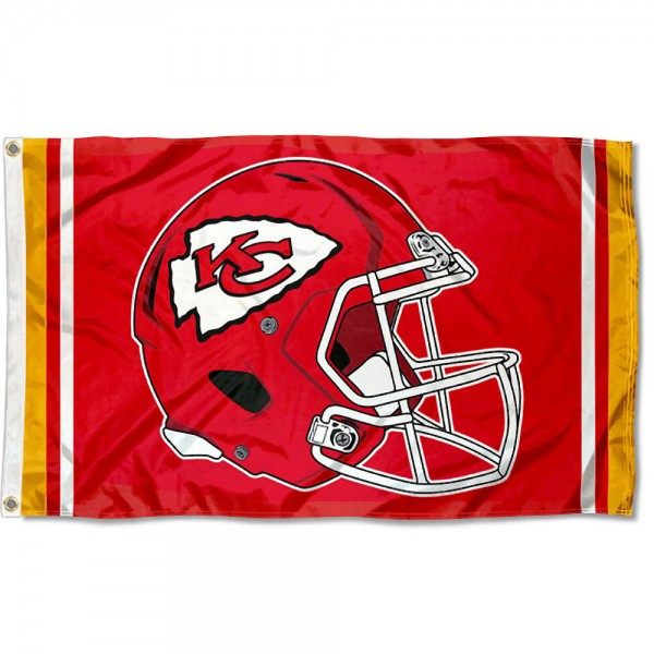 Our KC Chiefs New Helmet Flag is two sided, made of poly, 3'x5', Overnight Shipping, has two metal grommets, indoor or outdoor, and four-stitched fly ends. These KC Chiefs New Helmet Flags are Officially Approved by the KC Chiefs.