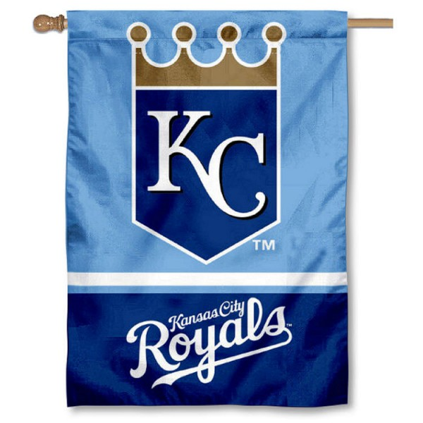 KC Royals Double Sided House Flag is screen printed with KC Royals logos, is made of 2-ply 100% polyester, and is two sided and double sided. Our banners measure 28x40 inches and hang vertically with a top pole sleeve to insert your banner pole or flagpole.