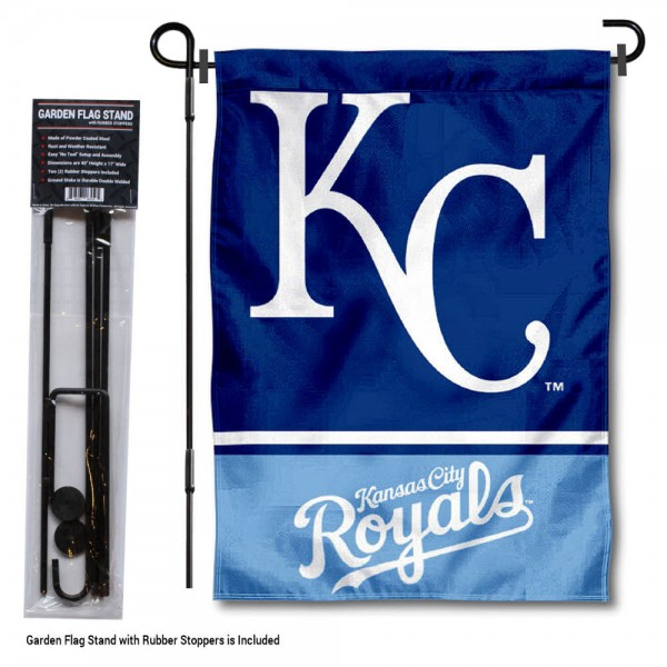 "KC Royals Logo Garden Flag and Stand kit includes our 13""x18"" garden banner which is made of 2 ply poly with liner and has screen printed licensed logos. Also, a 40""x17"" inch garden flag stand is included so your KC Royals Logo Garden Flag and Stand is ready to be displayed with no tools needed for setup. Fast Overnight Shipping is offered and the flag is Officially Licensed and Approved by the selected team."