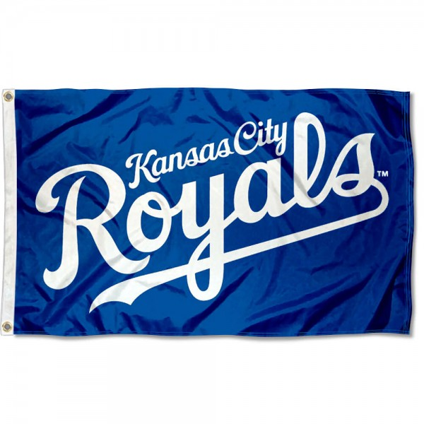 The KC Royals Outdoor Flag is four-stitched bordered, double sided, made of poly, 3'x5', and has two grommets. These Kansas City Royals Outdoor Flags are MLB Genuine Merchandise.