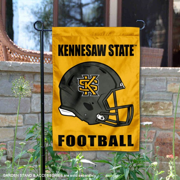 Kennesaw State Owls Helmet Yard Garden Flag is 13x18 inches in size, is made of 2-layer polyester with Liner, screen printed university athletic logos and lettering, and is readable and viewable correctly on both sides. Available same day shipping, our Kennesaw State Owls Helmet Yard Garden Flag is officially licensed and approved by the university and the NCAA.