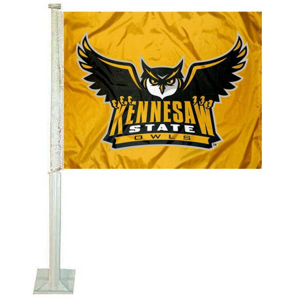 Kennesaw State Owls Logo Car Flag measures 12x15 inches, is constructed of sturdy 2 ply polyester, and has screen printed school logos which are readable and viewable correctly on both sides. Kennesaw State Owls Logo Car Flag is officially licensed by the NCAA and selected university.
