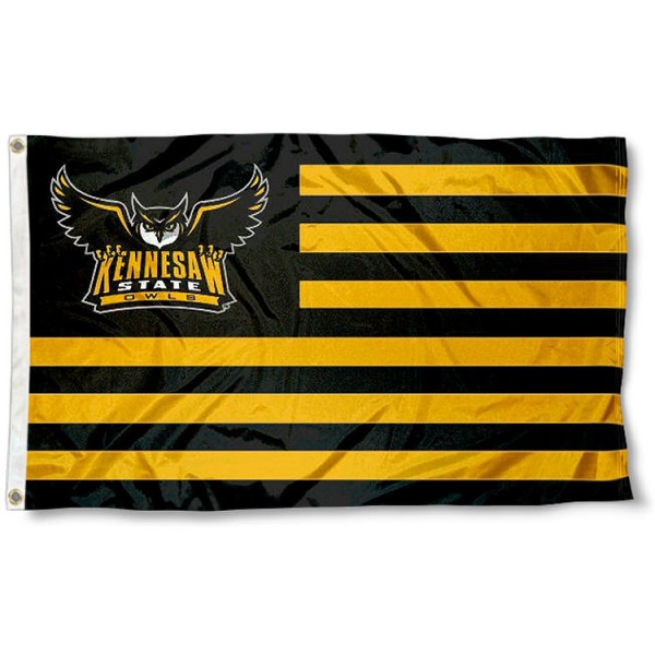Kennesaw State Owls Stripes Flag measures 3'x5', is made of polyester, offers double stitched flyends for durability, has two metal grommets, and is viewable from both sides with a reverse image on the opposite side. Our Kennesaw State Owls Stripes Flag is officially licensed by the selected school university and the NCAA.