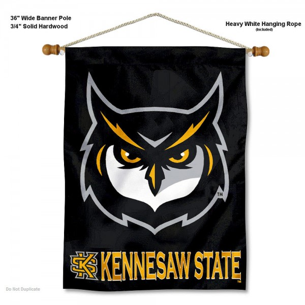 """Kennesaw State Owls Wall Banner is constructed of polyester material, measures a large 30""""x40"""", offers screen printed athletic logos, and includes a sturdy 3/4"""" diameter and 36"""" wide banner pole and hanging cord. Our Kennesaw State Owls Wall Banner is Officially Licensed by the selected college and NCAA."""