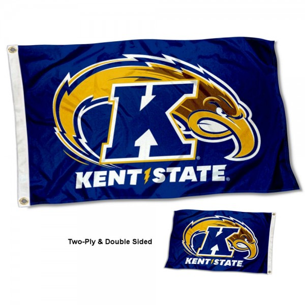 Kent State Golden Flashes Double Sided Flag measures 3'x5', is made of 2 layer 100% polyester, has quadruple stitched flyends for durability, and is readable correctly on both sides. Our Kent State Golden Flashes Double Sided Flag is officially licensed by the university, school, and the NCAA.