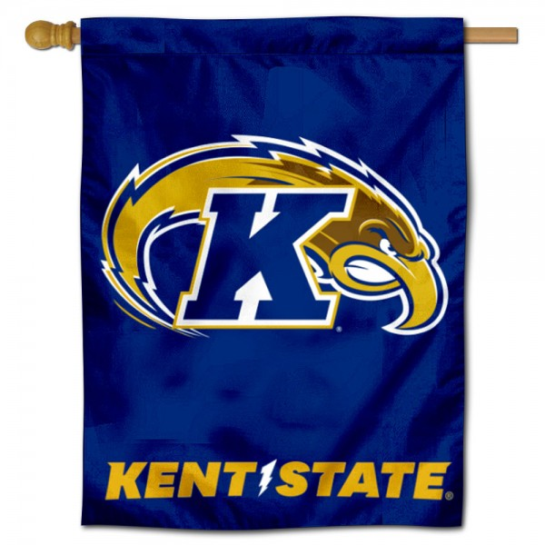 "Kent State Golden Flashes Logo Banner Flag is constructed of polyester material, is a vertical house flag, measures 30""x40"", offers screen printed athletic insignias, and has a top pole sleeve to hang vertically. Our Kent State Golden Flashes Logo Banner Flag is Officially Licensed by Kent State Golden Flashes and NCAA."