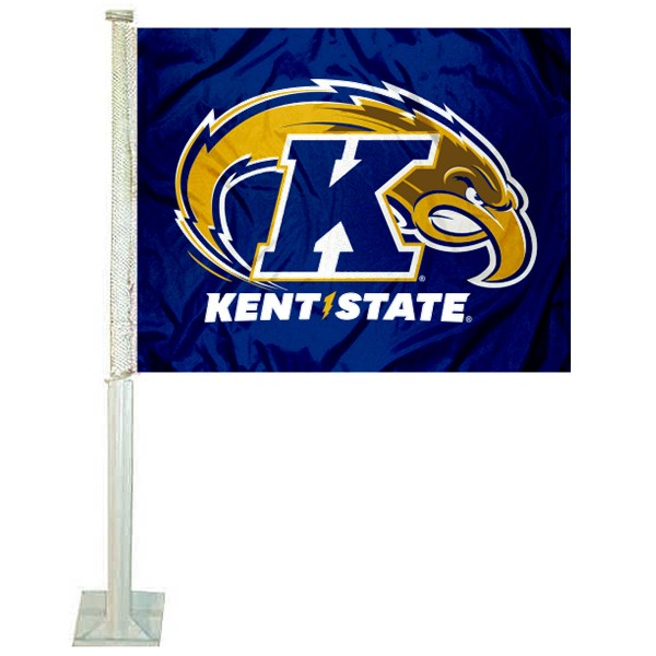 Kent State Golden Flashes Logo Car Flag measures 12x15 inches, is constructed of sturdy 2 ply polyester, and has screen printed school logos which are readable and viewable correctly on both sides. Kent State Golden Flashes Logo Car Flag is officially licensed by the NCAA and selected university.