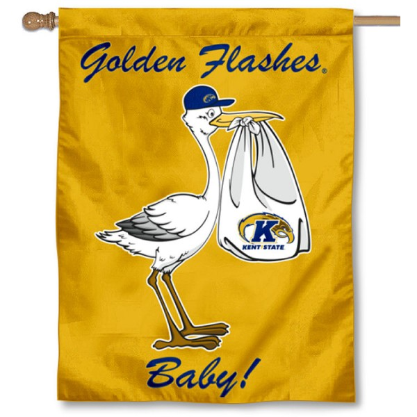 Kent State Golden Flashes New Baby Flag measures 30x40 inches, is made of poly, has a top hanging sleeve, and offers dye sublimated Kent State Golden Flashes logos. This Decorative Kent State Golden Flashes New Baby House Flag is officially licensed by the NCAA.