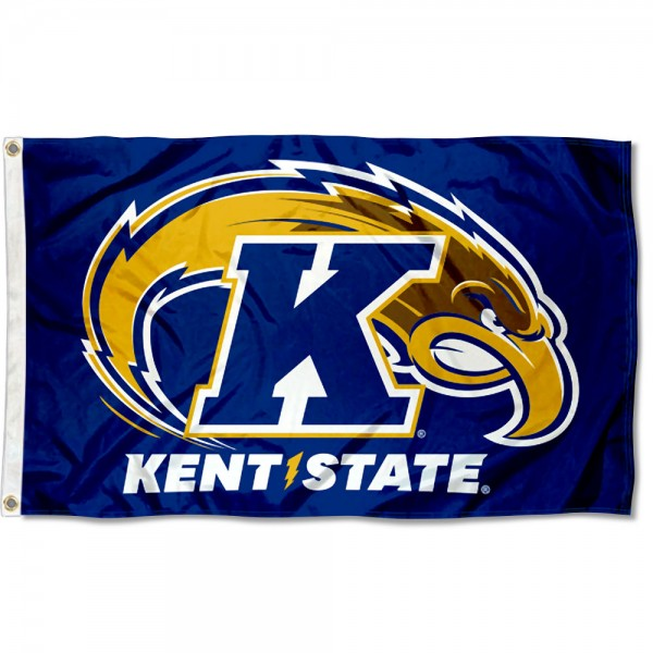 Kent State Golden Flashes New Logo Flag measures 3x5 feet, is made of 100% polyester, offers quadruple stitched flyends, has two metal grommets, and offers screen printed NCAA team logos and insignias. Our Kent State Golden Flashes New Logo Flag is officially licensed by the selected university and NCAA.