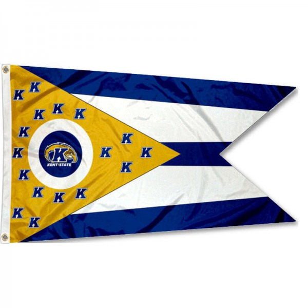 Kent State Golden Flashes State of Ohio Flag measures 3x5 feet, is made of 100% polyester, offers quadruple stitched flyends, has two metal grommets, and offers screen printed NCAA team logos and insignias. Our Kent State Golden Flashes State of Ohio Flag is officially licensed by the selected university and NCAA.
