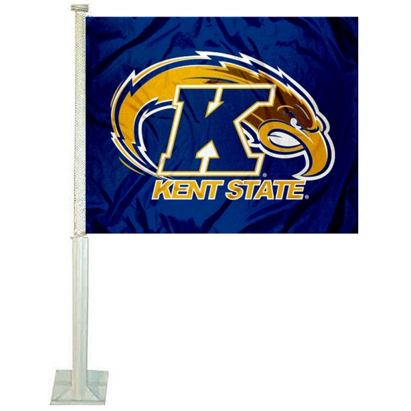 Kent State University Car Window Flag measures 12x15 inches, is constructed of sturdy 2 ply polyester, and has dye sublimated school logos which are readable and viewable correctly on both sides. Kent State University Car Window Flag is officially licensed by the NCAA and selected university.