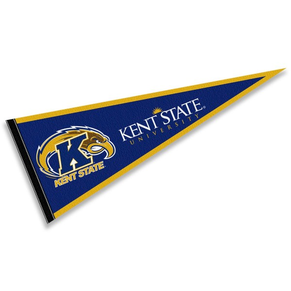 Kent State University Decorations consists of our full size pennant which measures 12x30 inches, is constructed of felt, is single sided imprinted, and offers a pennant sleeve for insertion of a pennant stick, if desired. This Kent State University Decorations is officially licensed by the selected university and the NCAA.