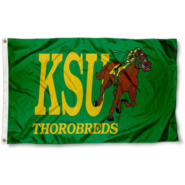 Kentucky State Thorobreds KSU Flag measures 3x5 feet, is made of 100% polyester, offers quadruple stitched flyends, has two metal grommets, and offers screen printed NCAA team logos and insignias. Our Kentucky State Thorobreds KSU Flag is officially licensed by the selected university and NCAA.