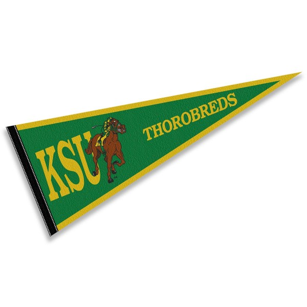 Kentucky State Thorobreds Pennant consists of our full size sports pennant which measures 12x30 inches, is constructed of felt, is single sided imprinted, and offers a pennant sleeve for insertion of a pennant stick, if desired. This Kentucky State Thorobreds Pennant Decorations is Officially Licensed by the selected university and the NCAA.