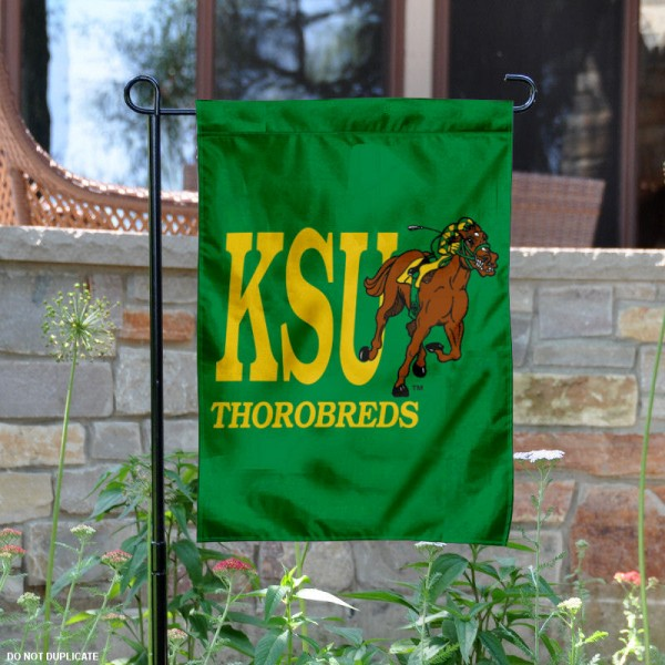Kentucky State University Garden Flag is 13x18 inches in size, is made of 2-layer polyester, screen printed university athletic logos and lettering, and is readable and viewable correctly on both sides. Available same day shipping, our Kentucky State University Garden Flag is officially licensed and approved by the university and the NCAA.