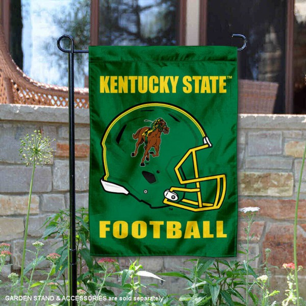 Kentucky State University Football Helmet Garden Banner is 13x18 inches in size, is made of 2-layer polyester, screen printed Kentucky State University athletic logos and lettering. Available with Same Day Express Shipping, Our Kentucky State University Football Helmet Garden Banner is officially licensed and approved by Kentucky State University and the NCAA.