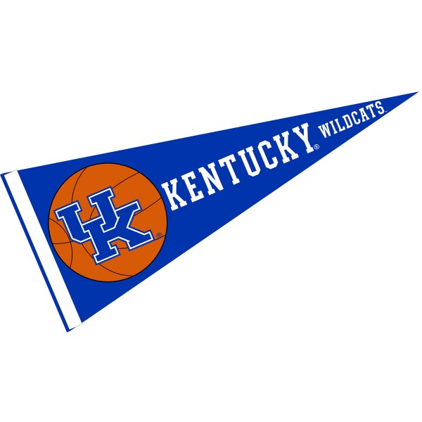 Kentucky UK Wildcats Basketball Pennant consists of our full size sports pennant which measures 12x30 inches, is constructed of felt, is single sided imprinted, and offers a pennant sleeve for insertion of a pennant stick, if desired. This Kentucky UK Wildcats Pennant Decorations is Officially Licensed by the selected university and the NCAA.