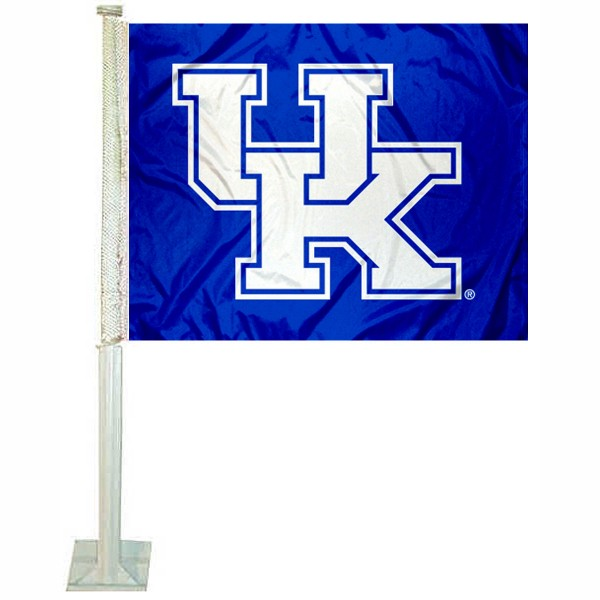 Kentucky UK Wildcats Car Flag measures 12x15 inches, is constructed of sturdy 2 ply polyester, and has screen printed school logos which are readable and viewable correctly on both sides. Kentucky UK Wildcats Car Flag is officially licensed by the NCAA and selected university.