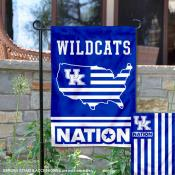 Kentucky UK Wildcats Garden Flag with USA Country Stars and Stripes