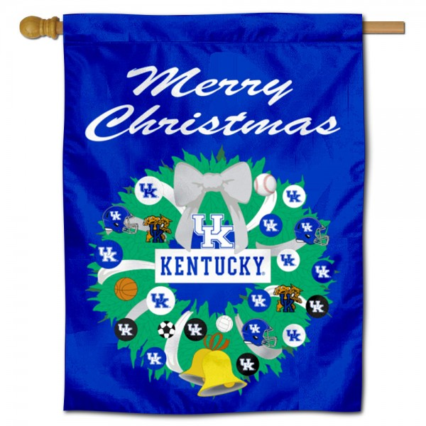 Kentucky UK Wildcats Happy Holidays Banner Flag measures 30x40 inches, is made of poly, has a top hanging sleeve, and offers dye sublimated Kentucky UK Wildcats logos. This Decorative Kentucky UK Wildcats Happy Holidays Banner Flag is officially licensed by the NCAA.