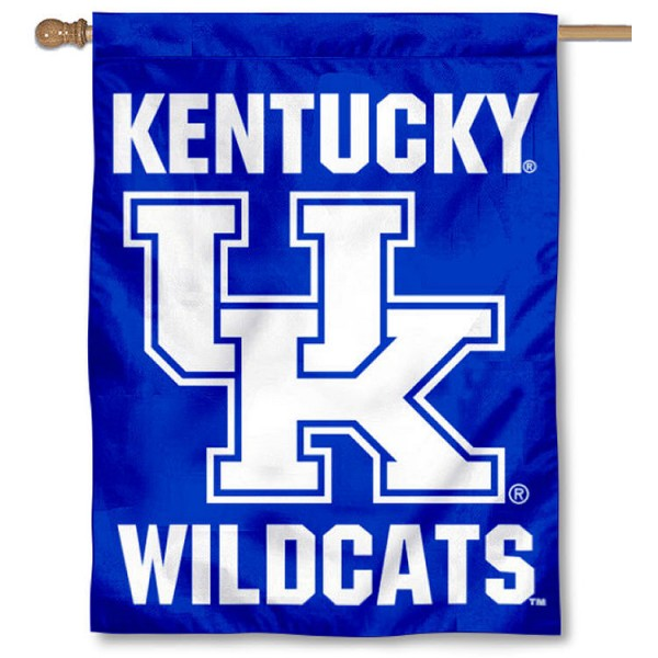 Kentucky UK Wildcats New Logo House Flag is a vertical house flag which measures 30x40 inches, is made of 2 ply 100% polyester, offers screen printed NCAA team insignias, and has a top pole sleeve to hang vertically. Our Kentucky UK Wildcats New Logo House Flag is officially licensed by the selected university and the NCAA.