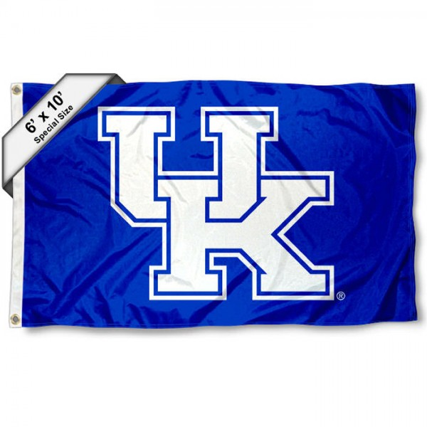 Kentucky UK Wildcats New UK Logo 6'x10' Flag measures 6x10 feet, is made of thick poly, has quadruple-stitched fly ends, and Kentucky UK Wildcats logos are screen printed into the Kentucky UK Wildcats New UK Logo 6'x10' Flag. This Kentucky UK Wildcats New UK Logo 6'x10' Flag is officially licensed by and the NCAA.