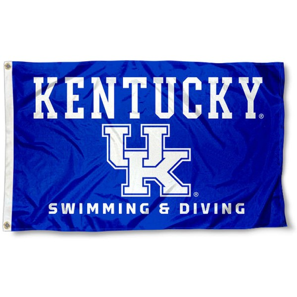 Kentucky UK Wildcats Swimming and Diving Team Flag measures 3x5 feet, is made of 100% polyester, offers quadruple stitched flyends, has two metal grommets, and offers screen printed NCAA team logos and insignias. Our Kentucky UK Wildcats Swimming and Diving Team Flag is officially licensed by the selected university and NCAA.