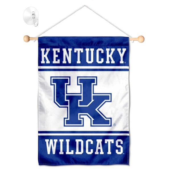 """Kentucky UK Wildcats Window and Wall Banner kit includes our 13""""x18"""" garden banner which is made of 2 ply poly with liner and has screen printed licensed logos. Also, a 17"""" wide banner pole with suction cup is included so your Kentucky UK Wildcats Window and Wall Banner is ready to be displayed with no tools needed for setup. Fast Overnight Shipping is offered and the flag is Officially Licensed and Approved by the selected team."""