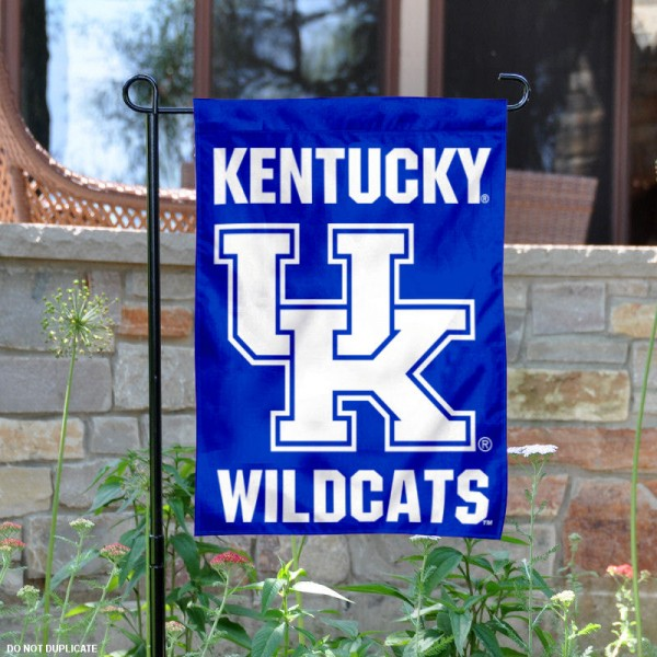 Kentucky UK Wildcats Wordmark Garden Flag is 13x18 inches in size, is made of 2-layer polyester, screen printed university athletic logos and lettering, and is readable and viewable correctly on both sides. Available same day shipping, our Kentucky UK Wildcats Wordmark Garden Flag is officially licensed and approved by the university and the NCAA.
