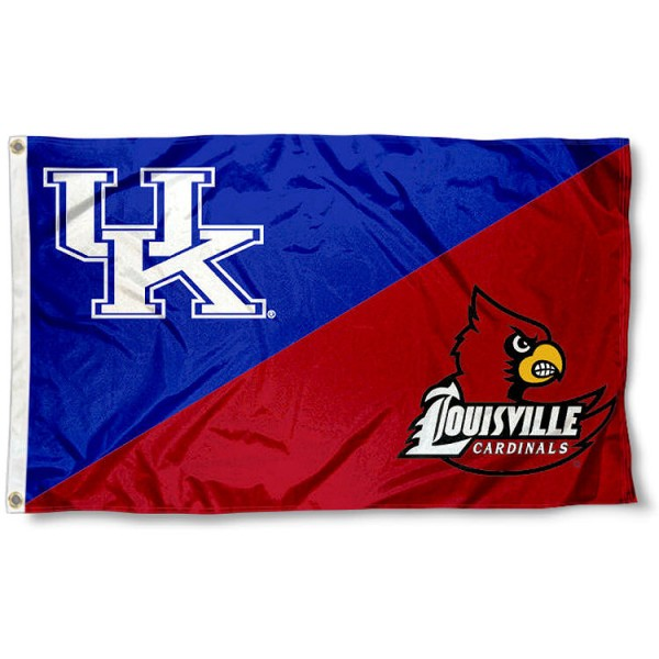 Kentucky vs. Louisville House Divided 3x5 Flag sizes at 3x5 feet, is made of 100% polyester, has quadruple-stitched fly ends, and the university logos are screen printed into the Kentucky vs. Louisville House Divided 3x5 Flag. The Kentucky vs. Louisville House Divided 3x5 Flag is approved by the NCAA and the selected universities.
