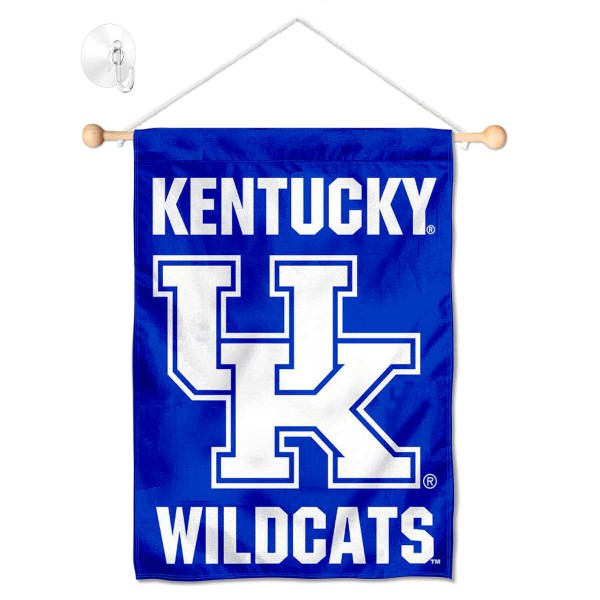 """Kentucky Wildcats Banner with Suction Cup kit includes our 13""""x18"""" garden banner which is made of 2 ply poly with liner and has screen printed licensed logos. Also, a 17"""" wide banner pole with suction cup is included so your Kentucky Wildcats Banner with Suction Cup is ready to be displayed with no tools needed for setup. Fast Overnight Shipping is offered and the flag is Officially Licensed and Approved by the selected team."""