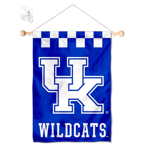 "Kentucky Wildcats Banner with Suction Cup kit includes our 13""x18"" garden banner which is made of 2 ply poly with liner and has screen printed licensed logos. Also, a 17"" wide banner pole with suction cup is included so your Kentucky Wildcats Banner with Suction Cup is ready to be displayed with no tools needed for setup. Fast Overnight Shipping is offered and the flag is Officially Licensed and Approved by the selected team."
