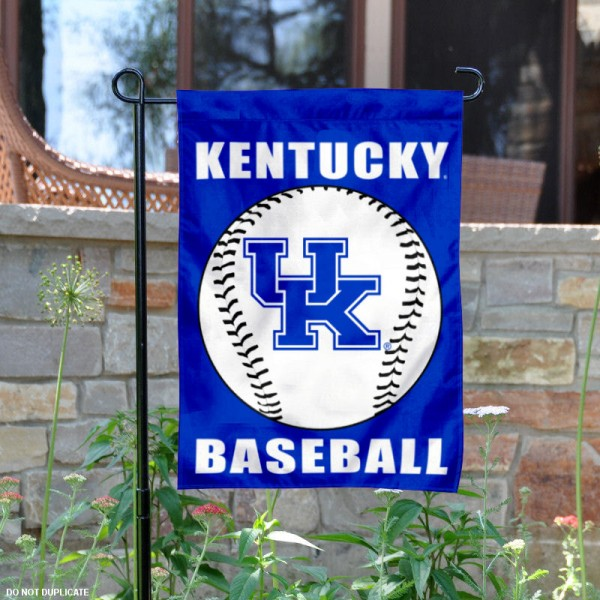 Kentucky Wildcats Baseball Team Garden Flag is 13x18 inches in size, is made of 2-layer polyester, screen printed University of Kentucky Baseball athletic logos and lettering. Available with Express Shipping, Our Kentucky Wildcats Baseball Team Garden Flag is officially licensed and approved by University of Kentucky Baseball and the NCAA.