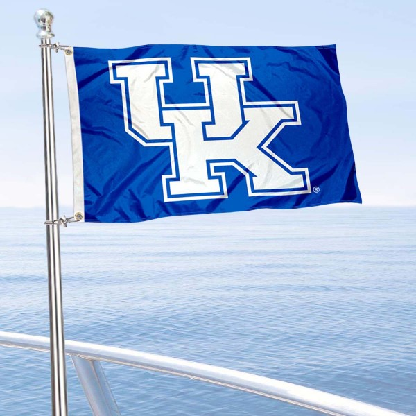 Kentucky Wildcats Boat and Mini Flag is 12x18 inches, polyester, offers quadruple stitched flyends for durability, has two metal grommets, and is double sided. Our mini flags for University of Kentucky are licensed by the university and NCAA and can be used as a boat flag, motorcycle flag, golf cart flag, or ATV flag.