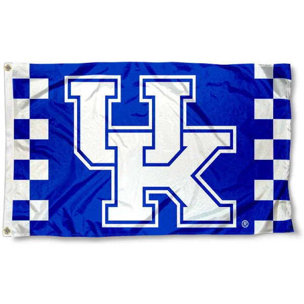 Kentucky Wildcats Checkered Board Flag measures 3x5 feet, is made of 100% polyester, offers quadruple stitched flyends, has two metal grommets, and offers screen printed NCAA team logos and insignias. Our Kentucky Wildcats Checkered Board Flag is officially licensed by the selected university and NCAA.