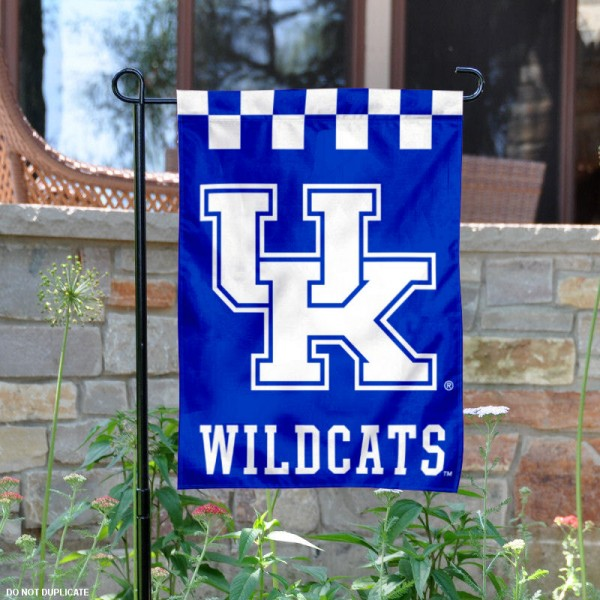 Kentucky Wildcats Checkered Logo Garden Flag is 13x18 inches in size, is made of 2-layer polyester, screen printed university athletic logos and lettering, and is readable and viewable correctly on both sides. Available same day shipping, our Kentucky Wildcats Checkered Logo Garden Flag is officially licensed and approved by the university and the NCAA.