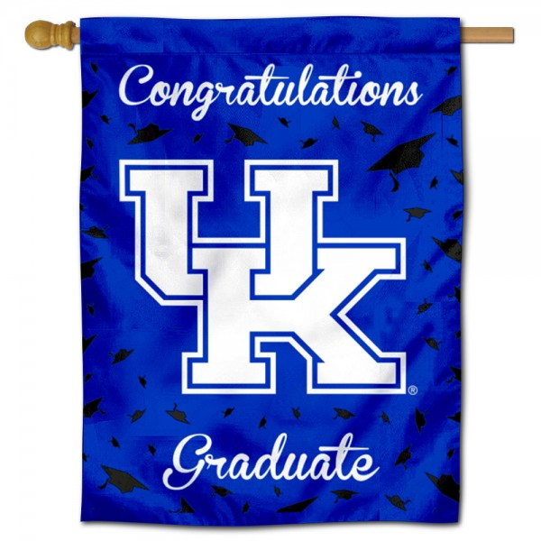 Kentucky Wildcats Congratulations Graduate Flag measures 30x40 inches, is made of poly, has a top hanging sleeve, and offers dye sublimated Kentucky Wildcats logos. This Decorative Kentucky Wildcats Congratulations Graduate House Flag is officially licensed by the NCAA.