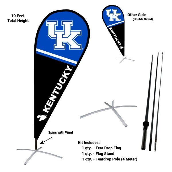 Kentucky Wildcats Feather Flag Kit measures a tall 10' when fully assembled. The kit includes a Feather Flag, 3 Piece Fiberglass Pole, and matching Metal Feather Flag Stand. Our Kentucky Wildcats Feather Flag Kit easily assembles and is NCAA Officially Licensed by the selected school or university.