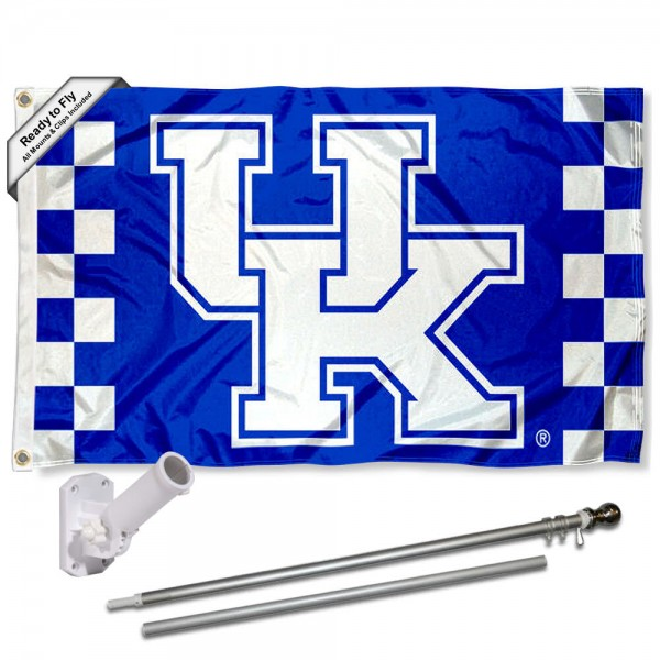 Our Kentucky Wildcats Flag Pole and Bracket Kit includes the flag as shown and the recommended flagpole and flag bracket. The flag is made of polyester, has quad-stitched flyends, and the NCAA Licensed team logos are double sided screen printed. The flagpole and bracket are made of rust proof aluminum and includes all hardware so this kit is ready to install and fly.