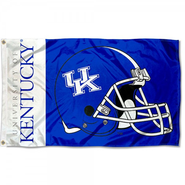 Kentucky Wildcats Football Helmet Flag measures 3x5 feet, is made of 100% polyester, offers quadruple stitched flyends, has two metal grommets, and offers screen printed NCAA team logos and insignias. Our Kentucky Wildcats Football Helmet Flag is officially licensed by the selected university and NCAA.