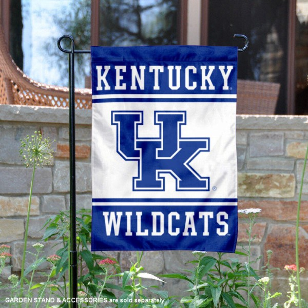 Kentucky Wildcats Garden Flag is 13x18 inches in size, is made of 2-layer polyester, screen printed logos and lettering. Available with Same Day Express Shipping, Our Kentucky Wildcats Garden Flag is officially licensed and approved by the NCAA.