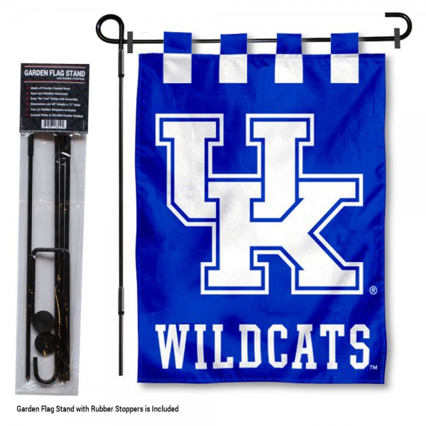 "Kentucky Wildcats Garden Flag and Stand kit includes our 13""x18"" garden banner which is made of 2 ply poly with liner and has screen printed licensed logos. Also, a 40""x17"" inch garden flag stand is included so your Kentucky Wildcats Garden Flag and Stand is ready to be displayed with no tools needed for setup. Fast Overnight Shipping is offered and the flag is Officially Licensed and Approved by the selected team."