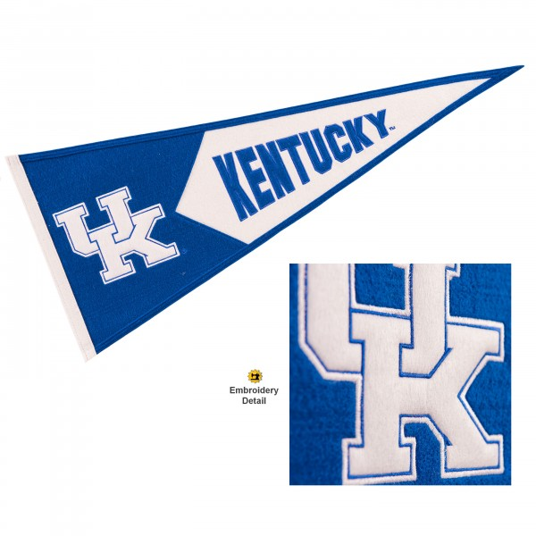 Kentucky Wildcats Genuine Wool Pennant consists of our full size 13x32 inch Winning Streak Sports wool college pennant. The logos, lettering and insignia is quality embroidered and appliqued, feature a alternate logo color header, and has sewn wool perimeter. This Kentucky Wildcats College Pennant Pennant is Officially Licensed and University Approved with Overnight Next Day Shipping.