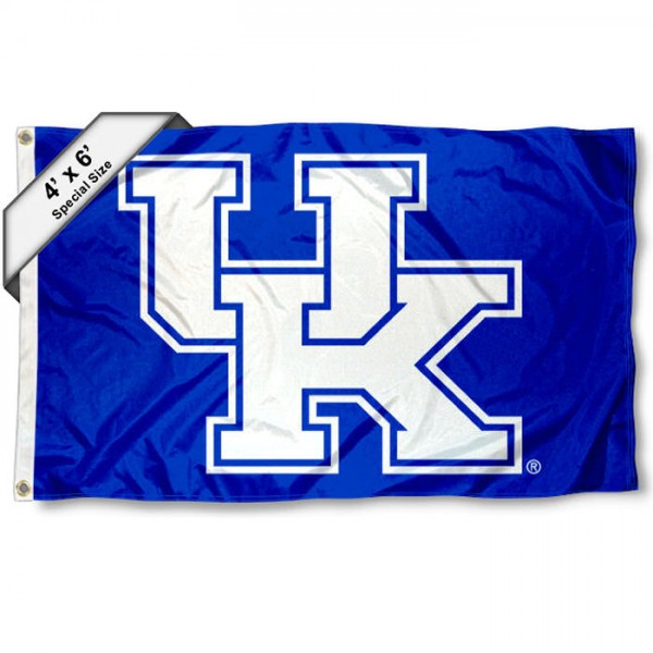 Kentucky Wildcats Large 4x6 Flag measures 4x6 feet, is made thick woven polyester, has quadruple stitched flyends, two metal grommets, and offers screen printed NCAA Kentucky Wildcats Large athletic logos and insignias. Our Kentucky Wildcats Large 4x6 Flag is officially licensed by Kentucky Wildcats and the NCAA.