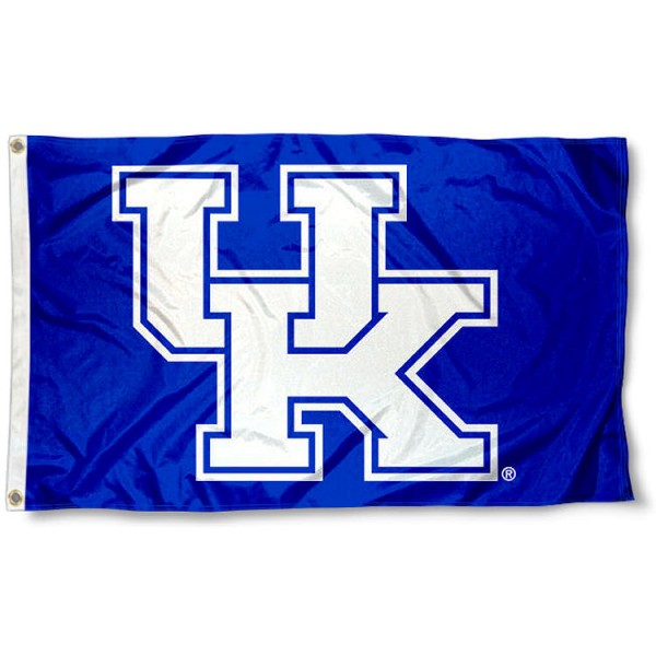 Kentucky Wildcats New UK Flag measures 3'x5', is made of 100% poly, has quadruple stitched sewing, two metal grommets, and has double sided Team University logos. Our UK Wildcats White is officially licensed by the selected university and the NCAA.