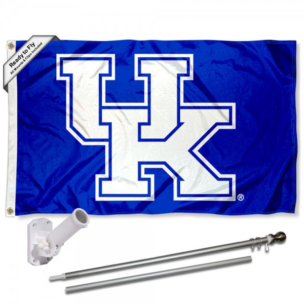 Our Kentucky Wildcats New UK Flag Pole and Bracket Kit includes the flag as shown and the recommended flagpole and flag bracket. The flag is made of polyester, has quad-stitched flyends, and the NCAA Licensed team logos are double sided screen printed. The flagpole and bracket are made of rust proof aluminum and includes all hardware so this kit is ready to install and fly.