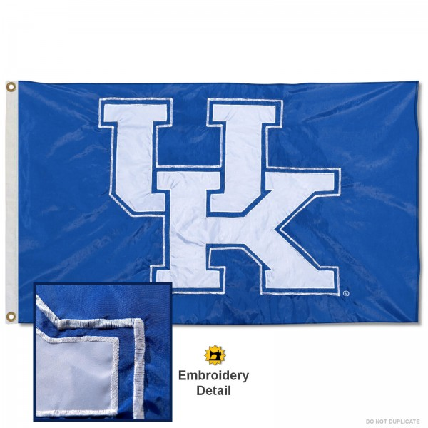 Kentucky Wildcats Nylon Embroidered Flag measures 3'x5', is made of 100% nylon, has quadruple flyends, two metal grommets, and has double sided appliqued and embroidered University logos. These Kentucky Wildcats 3x5 Flags are officially licensed by the selected university and the NCAA.