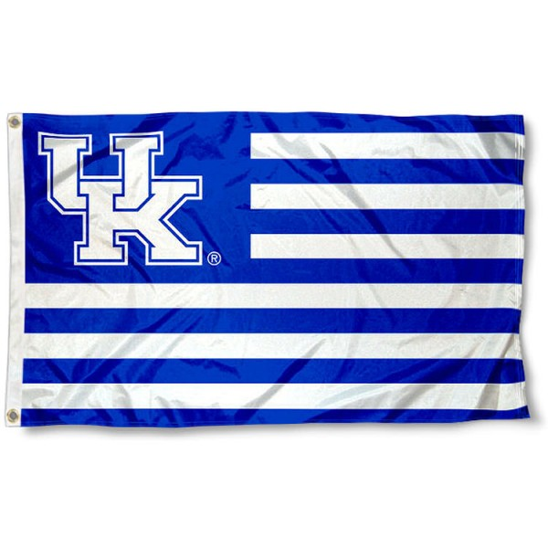 Kentucky Wildcats Stripes Flag measures 3'x5', is made of polyester, offers double stitched flyends for durability, has two metal grommets, and is viewable from both sides with a reverse image on the opposite side. Our Kentucky Wildcats Stripes Flag is officially licensed by the selected school university and the NCAA.