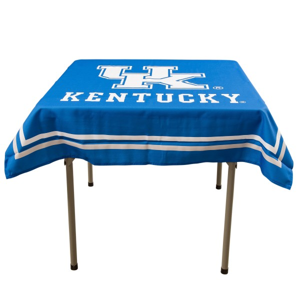 Kentucky Wildcats Table Cloth measures 48 x 48 inches, is made of 100% Polyester, seamless one-piece construction, and is perfect for any tailgating table, card table, or wedding table overlay. Each includes Officially Licensed Logos and Insignias.