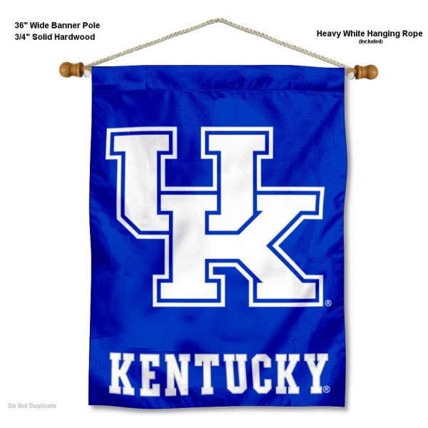 "Kentucky Wildcats Wall Banner is constructed of polyester material, measures a large 30""x40"", offers screen printed athletic logos, and includes a sturdy 3/4"" diameter and 36"" wide banner pole and hanging cord. Our Kentucky Wildcats Wall Banner is Officially Licensed by the selected college and NCAA."